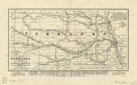 Map : Nebraska 1919, National highways map of the state of Nebraska: showing thirty-two hundred miles of national highways