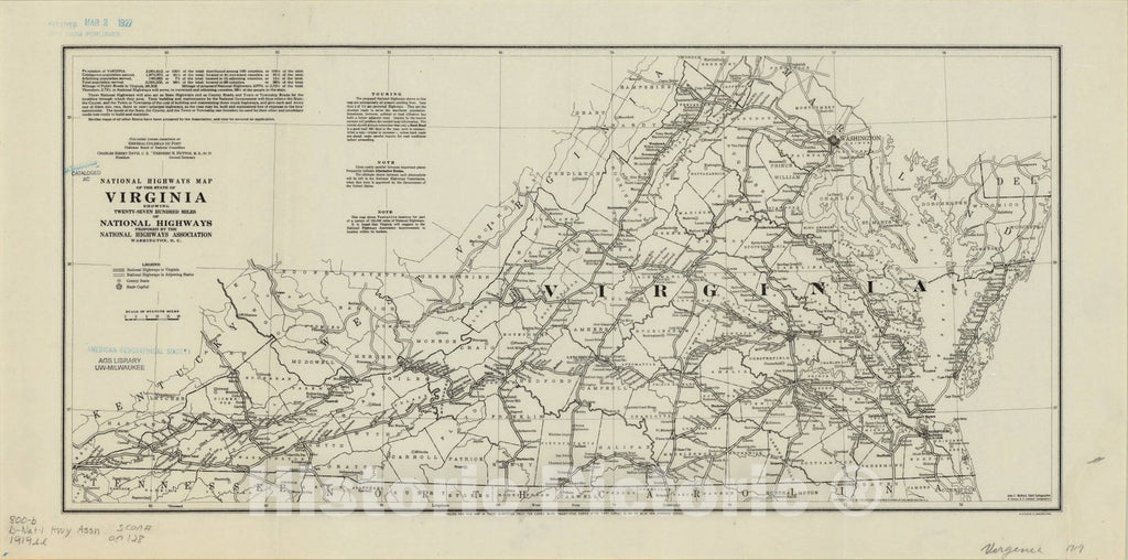 Map : Virgnia 1919, National highways map of the state of Virginia: showing twenty-seven hundred miles of national highways