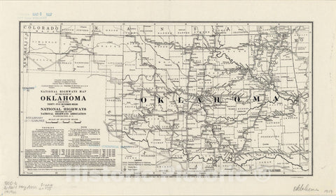 Map : Oklahoma 1919, National highways map of the state of Oklahoma : showing thirty-five hundred miles of national highways