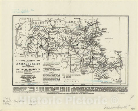 Map : Massachusetts 1919, National Highways map of the State of Massachusetts : showing twelve hundred miles of national highways, Antique Vintage Reproduction