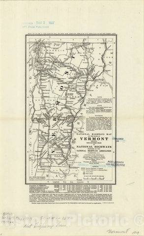 Map : Vermont 1919, National highways map of the state of Vermont : showing nine hundred miles of national highways