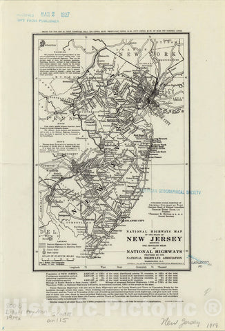 Map : New Jersey 1919, National highways map of the state of New Jersey : showing one thousand miles of national highways