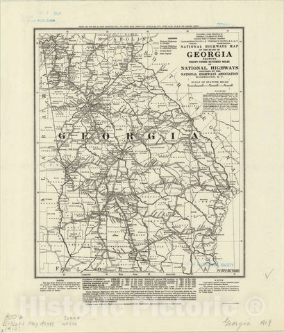 Map : Georgia 1919, National highways map of the state of Georgia : showing thirty-three hundred miles of national highways