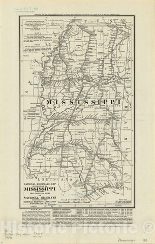 Map : Mississippi 1919, National highways map of the state of Mississippi: showing two thousand miles of national highways