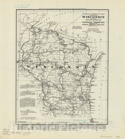 Map : Wisconsin 1919, National highways map of the state of Wisconsin: showing twenty-five hundred miles of national highways