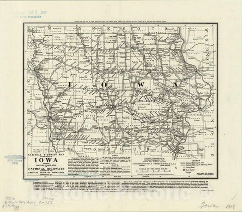 Map : Iowa 1919, National highways map of the state of Iowa : showing twenty-eight hundred miles of national highways