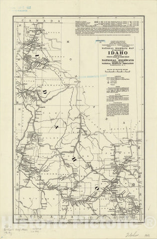 Map : Idaho 1919, National highways map of the state of Idaho : showing twenty-eight hundred miles of national highways