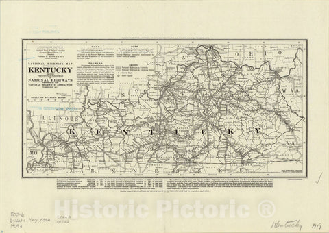 Map : Kentucky 1919, National highways map of the state of Kentucky: showing twenty-two hundred miles of national highways