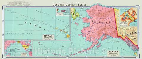 Map : Hawaii and Alaska 1964, United States , Antique Vintage Reproduction
