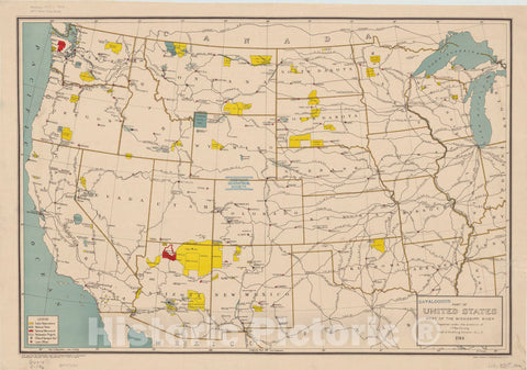 Map : United States, western 1914, Part of United States west of the Mississippi River , Antique Vintage Reproduction