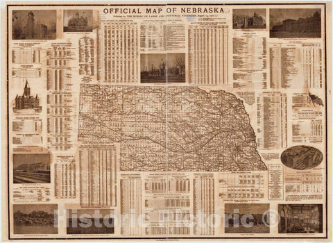 Map : Nebraska 1901, Official map of Nebraska : state map, showing political divisions, railroads, etc., Antique Vintage Reproduction
