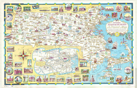 Map : Massachusetts 1960, Historic Massachusetts, a travel map to help you feel at home in the Bay State , Antique Vintage Reproduction