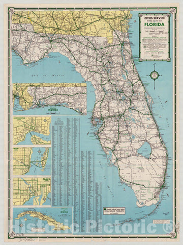 Map : Florida 1935 1, Road map of Florida and the Southeastern States , Antique Vintage Reproduction