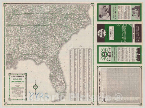 Map : Florida 1935 2, Road map of Florida and the Southeastern States , Antique Vintage Reproduction
