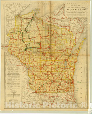 Map : Wisconsin 1918 1, Official map of the state trunk highway system of Wisconsin , Antique Vintage Reproduction