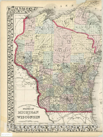 Map : Michigan and Wisconsin 1873 2, County and township map of the states of Michigan and Wisconsin , Antique Vintage Reproduction