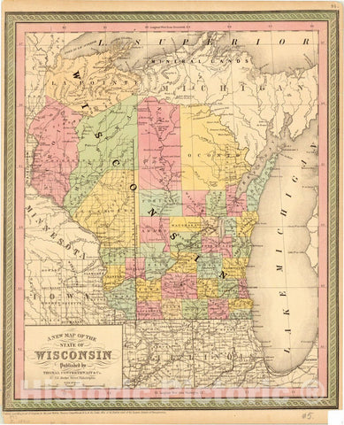 Map : Wisconsin 1850, A new map of the State of Wisconsin , Antique Vintage Reproduction