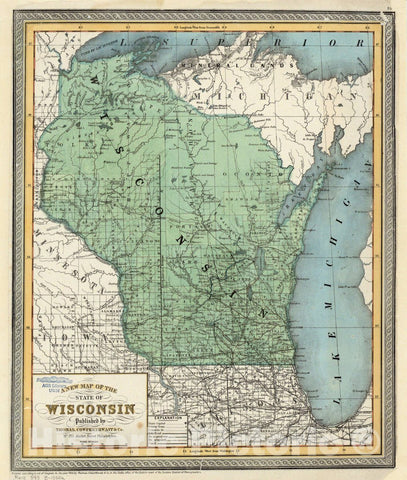 Map : Wisconsin 1854, A new map of the State of Wisconsin , Antique Vintage Reproduction