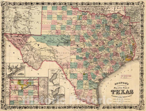 "Map : Texas 1877, Colton's |""new medium