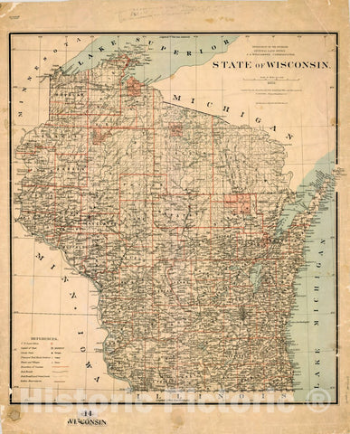 Map : Wisconsin 1878, State of Wisconsin , Antique Vintage Reproduction