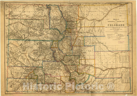 Map : Colorado 1880, Nell's new topographical & township map of the state of Colorado , Antique Vintage Reproduction