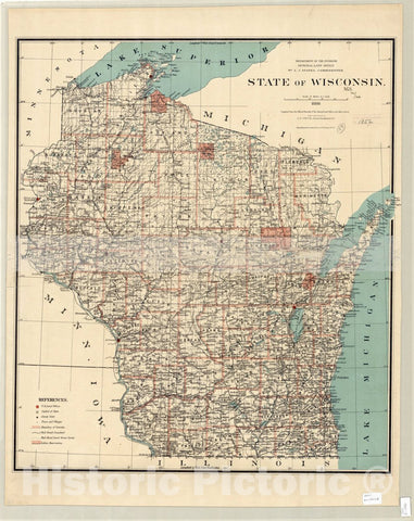 Map : Wisconsin 1886, Map of the state of Wisconsin 1886 , Antique Vintage Reproduction