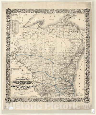 Historic Map : Wisconsin 1857, Colton's township map of the state of Wisconsin : showing the Milwaukee, Watertown & Madison R.R. and its connections , Antique Vintage Reproduction