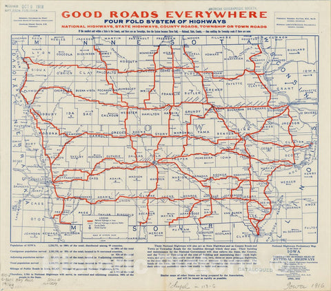 Map : Iowa 1916, National highways preliminary map of the state of Iowa : showing thirty-eight hundred miles of national highways, Antique Vintage Reproduction