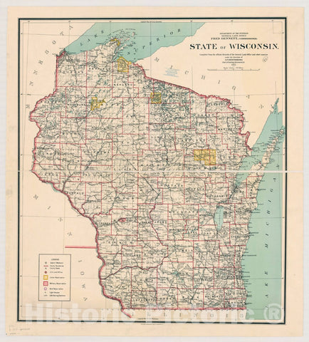 Map : Wisconsin 1912, State of Wisconsin [map] , Antique Vintage Reproduction