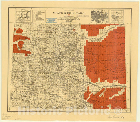 Map : Colorado 1912, State of Colorado : lands designated by the Secretary of the Interior as subject to entry under the provisions of the Enlarged Homestead Act