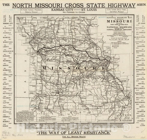 Historic Map : Missouri 1921 3, National highways map of the state of Missouri : showing forty-three hundred miles of national highways