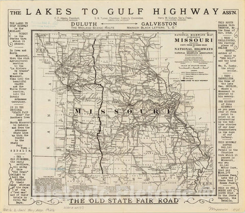 Historic Map : Missouri 1921 4, National highways map of the state of Missouri : showing forty-three hundred miles of national highways