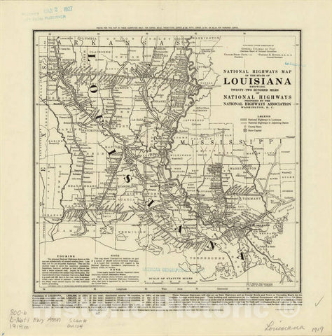 Map : Louisiana 1919, National highways map of the state of Louisiana : showing twenty-two hundred miles of national highways