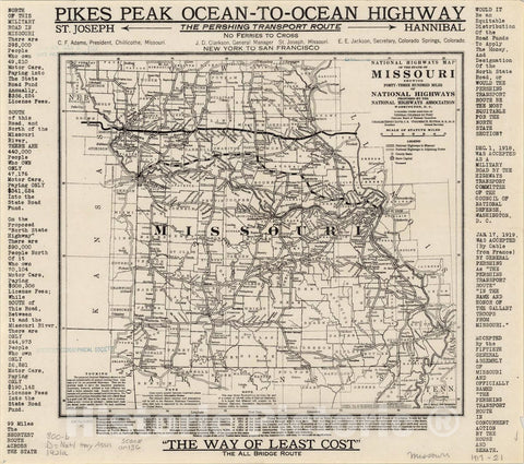 Historic Map : Missouri 1921 5, National highways map of the state of Missouri : showing forty-three hundred miles of national highways