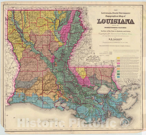 Historic Map : Louisiana 1882, The Louisiana State University topographical map of Louisiana : showing the characteristic features of the surface of the state in symbols and colors