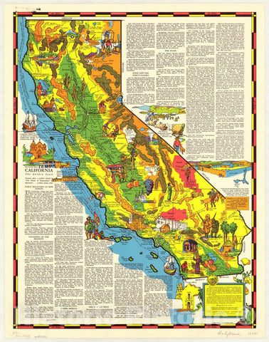 Map : California 1938, California : the golden state , Antique Vintage Reproduction