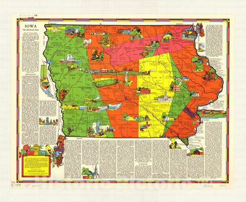 Map : Iowa 1939, Iowa : the hawk-eye state , Antique Vintage Reproduction