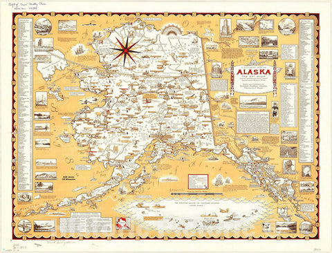 Map : Alaska 1959, A pictorial map of Alaska : the 49th State... , Antique Vintage Reproduction