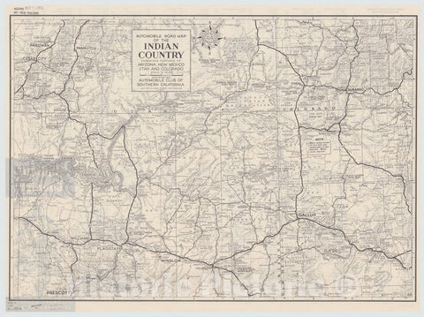 Map : United States 1951, Automobile road map of the Indian Country : embracing portions of Arizona, New Mexico, Utah and Colorado , Antique Vintage Reproduction