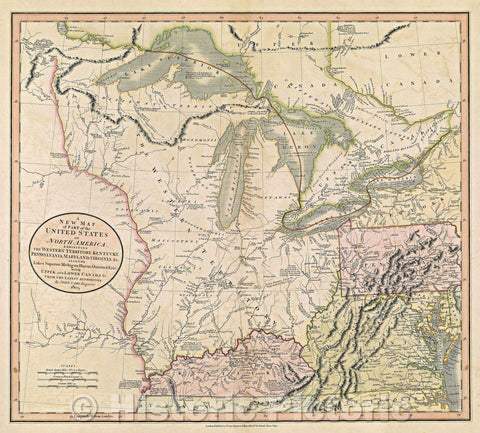 Historic Map : A New Map of Part of the United States of North America, exhibiting the Western Territory, Kentucky, Pennsylvania, Maryland, Virginia, 1805 , Vintage Wall Art