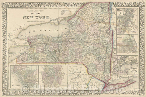 Historic Map : County Map of the State of New York drawn and engraved by W.H. Gamble, 1867 , Vintage Wall Art
