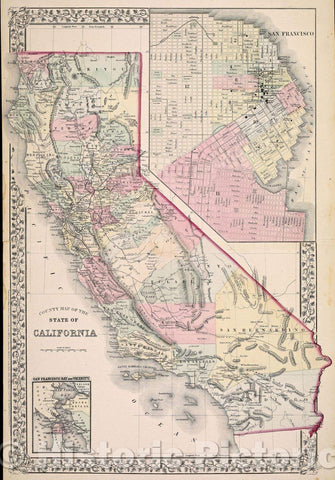 Historic Map : County Map of the State of California., 1870 , Vintage Wall Art