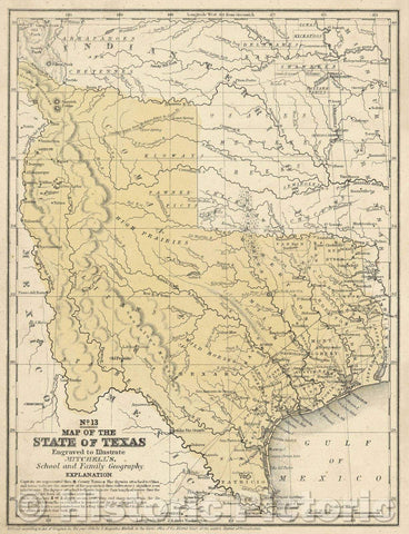 Historic Map : Map of the State of Texas, 1846 , Vintage Wall Art