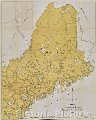 Historic Map : Map of Automobile Routes. State of Maine. 1915., 1916 , Vintage Wall Art