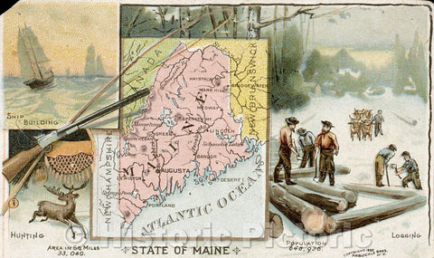 Historic Map : State of Maine, Vintage Wall Art