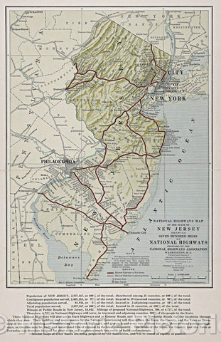 Historic Map : National Highways map of the State of New Jersey : showing seven hundred miles of national highways, 1915 , Vintage Wall Art
