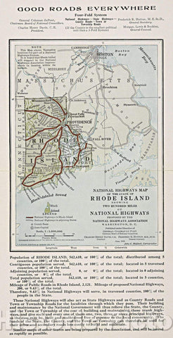 Historic Map : National highways map of the state of Rhode Island : showing two hundred miles of national highways proposed by the National Highways Association, 1915 , Vintage Wall Art
