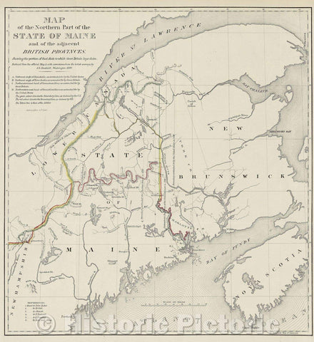 Historic Map : Map of the Northern Part of the State of Maine and of the Adjacent British Provinces, c. 1845 , Vintage Wall Art