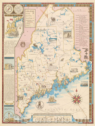 Historic Map : Map of the State of Maine, 1963 , Vintage Wall Art