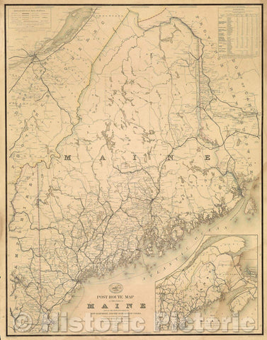 Historic Map : Post Route Map of the State of Maine and of the Adjacent Parts of New Hampshire and the Dominion of Canada, 1869 , Vintage Wall Art